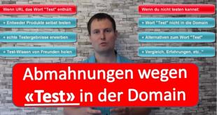 Nischenwebseiten Abmahnungen wegem dem Wort Test in der Domain